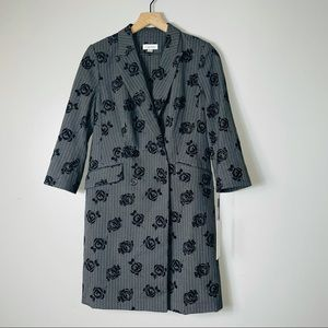 NWT Calvin Klein Pinstripe Floral Trench Coat
